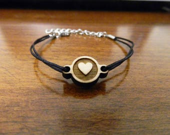Wooden bracelet HEART love Valentine couple