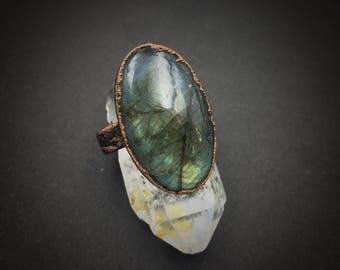 Labradorite Ring | Electroformed Ring | Oval Labradorite | Size 7 1/2