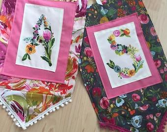 Floral Monogram Fabric Pennant