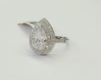 925 Sterling Silver Nickle Free Rhodium Plated Pear Shape Halo Engagement Ring size 5,6,7,8,9