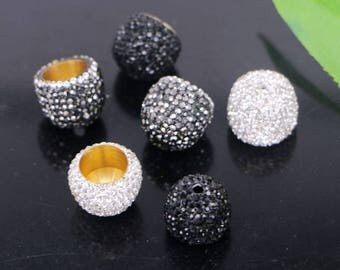 20Pcs  Metal Crystal Rhinestone Paved Flower Caps Beads, End Caps, Beads Caps, Jewelry Findings