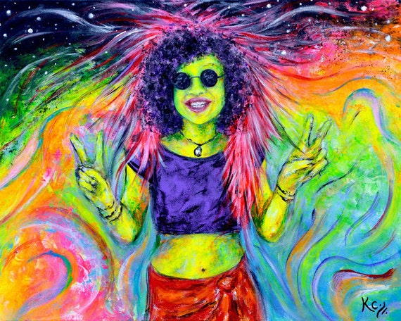 Psychedelic Pop Art Woman with Piece Signs, Sunglasses, Curly Natural Hair, and Psychedelic Rainbow Colors. Pop Art Print. FREE SHIPPING!