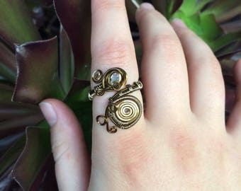 Handmade Adjustable Wire Wrapped Ring in Antique Brass with Diamond Quartz