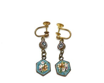 Antique Victorian Hand-made Micromosaic Earrings, c. 1900. Made in Italy.