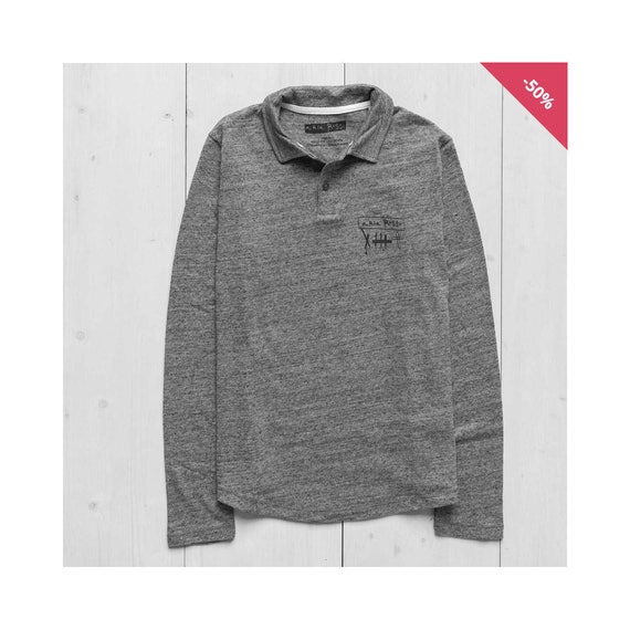 Man Long Sleeve Printed Sweatshirt - Long Sleeve Polo Mid Heather Grey...