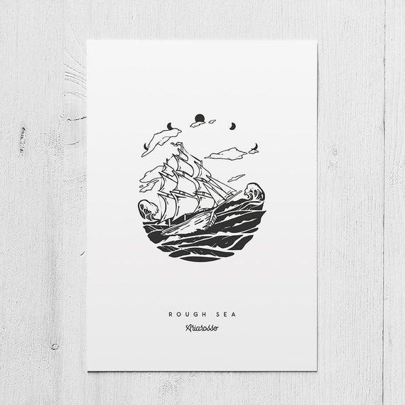 Poster Art Print - Rough Sea Blackwork Series A5 Size - Sails Ocean Se...