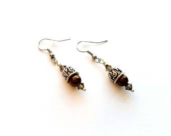 Silver Pierced Dangle Earrings with Copper/Brown Glass Pearls and Smoky Crystal Beads, Handmade