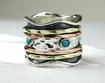 Turquoise spinning ring