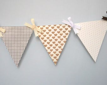 Cookies and Cream Mini Paper Pennant Banner / Baby Shower / First Birthday / Gender Neutral / Nursery Decor / Bunting / Garland