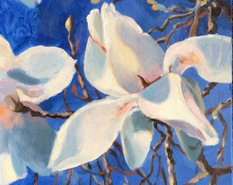 Mighty Magnolia (original oil painting, spring flowers)