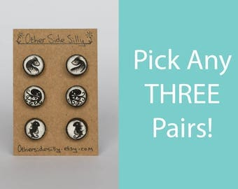 Pick any three pairs! Small hand painted wooden stud earrings - Choose your own set of cute, dark and original designs