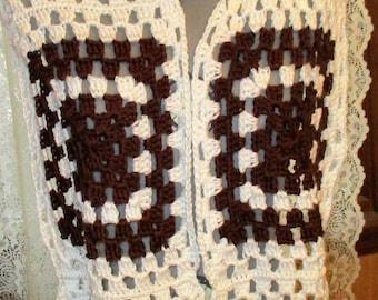White and Brown Granny Square Super Scarf