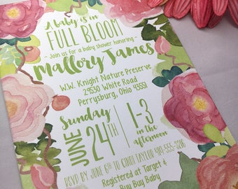 Watercolor Baby Shower Invitation | A Baby is Blooming | Floral | In Full Bloom | Garden Party | Pink, Peach, Green |PRINTABLE/DIGITAL/DIY