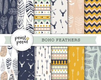 Tribal Boho Digital Paper - Feathers Arrows Deer Antlers - Pink Mint Navy Yellow Digital Printable Papers Chevron Polka Dots