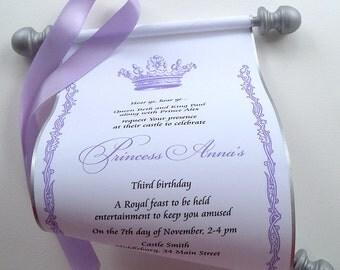 Princess Invitation, Royal princess birthday invitation scroll, purple and silver, bday party invite, set of 10