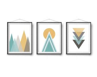 Triptech Art, Geometric Print, Mint Mustard Art, Abstract Art, Colorful Prints, Turquoise Wall Art, Set of 3 Prints, Digital Art, Home Decor