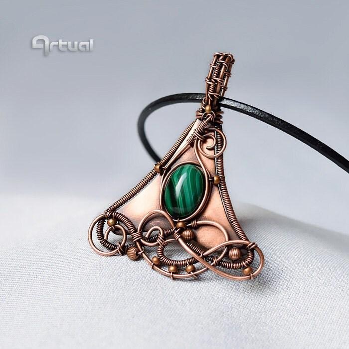 wire pendant malachite jewelry wire jewelry gemstone