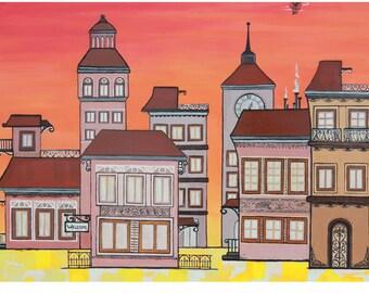 Sunset: Canvas 60X120, acrylic handmade red orange houses landscape painting