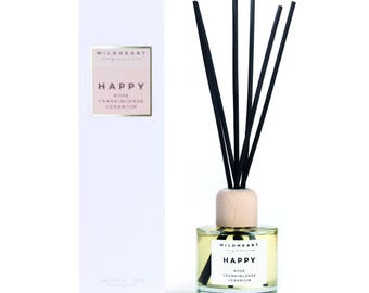 Organic Diffuser  - Happy ,  Rose & Frankincense, Naturally scented with essential oils