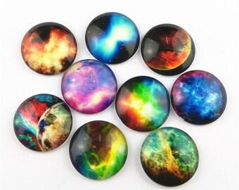 10pcs 25mm Mix Designs Sky Glass Cabochons Photo Glass Cabochons BL010