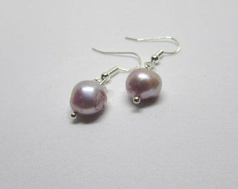 Lilac Pearl Drop Earrings, Sterling Silver Earrings, Bridesmaid Jewellery, Dangly Earrings, June Birthstone Jewellery