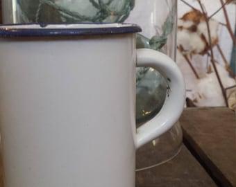 Vintage TALL White Enamel Mug, Cup