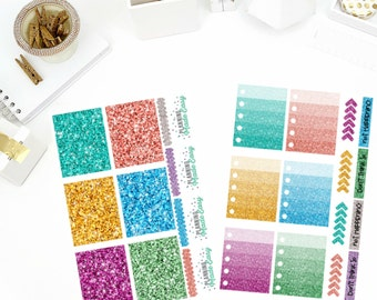 Glitter Functional Sticker Book Planner Stickers! Perfect for your Erin Condren Life Planner, calendar, Paper Plum, Filofax!