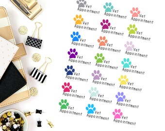 Vet Appointment Pet Stickers! Dog Stickers! Perfect for your Erin Condren Life Planner, calendar, Paper Plum, Filofax!