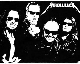 A4 Acrylic Paint Pop Art Portrait Picture of Metallica Framed