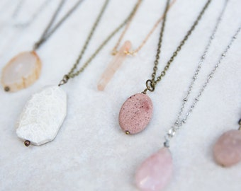 Gemstone Necklace, Pink Boho Necklace, Cream Necklace. Bridesmaid Gift, Layering Necklace, Pendant Necklace, Best Friend Gift, Birthday