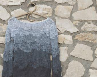 Recycle denim cotton sweater