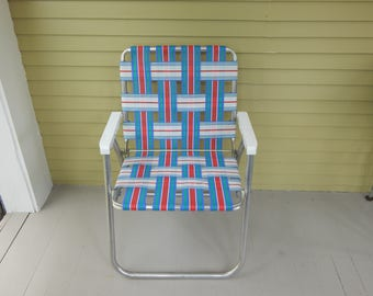 Lawn Chair - Vintage Aluminum Folding - Webbed with plastic handles