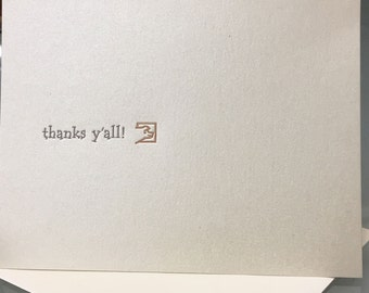 Thanks Y'all/Thank You - Letterpress printed greeting cards A-2 package of 5