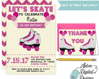 Printable Girls Roller Skating Birthday Party Invitations - Free Thank You Cards Included - Instant Download - Edit in Adobe Reader