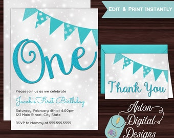 Boy's First Birthday Invitation, One Year Old Birthday Invitation, Childs First Birthday, Free Thank You Cards, PInk Glitter, Print at Home