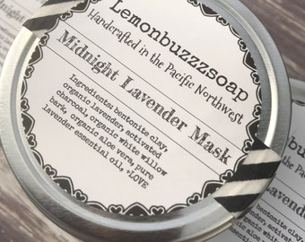 Midnight Lavender Face Mask-Organic Face Mask+Detox Mask+Clay Face Mask+Natural+Chemical Free+Spa And Relaxation+Health+Wellbeing