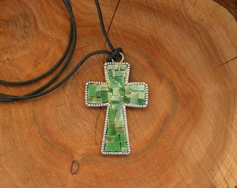 Green Mosaic Cross Pendant- Wearable Art