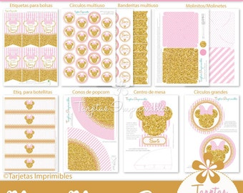Minnie Mouse Gold & Pink Kit printable party decorations. Immediate delivery. Pdf with editable text format.