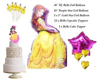 18 Piece Set Complete Princess Belle Foil Balloon for Princess Birthday Cake Topper Cupcake Decoration