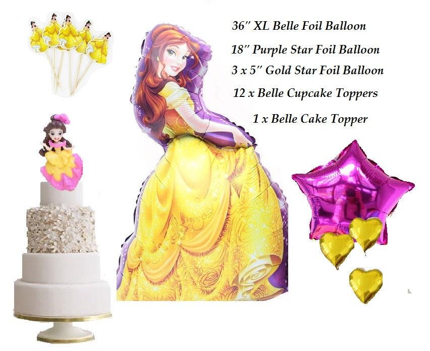 18 Piece Set Complete Princess Belle Foil Balloon for Princess