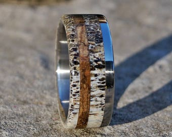 Deer antler ring wood and stainless steel
