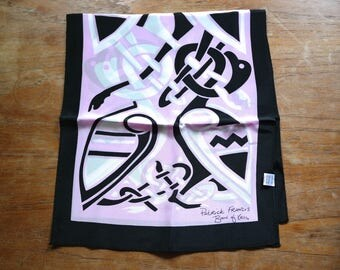 Irish Design Silk Scarf Patrick Francis Book of Kells Ireland Oblong Pink Black White Celtic
