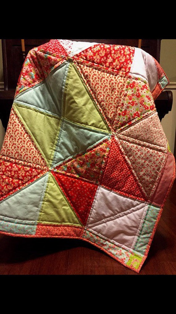 "The Evelyn Quilt. 40"" x 40"" handmade star block quilt."