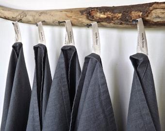 12 Dark grey Linen Towels, Dark grey dish towels, Charcoal tea towels, Dark grey bar towels, Dark grey hand towels,  European linen towel