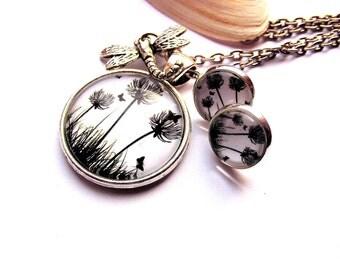 Jewelry set Flower necklace earrings pendant Dragonfly dandelion