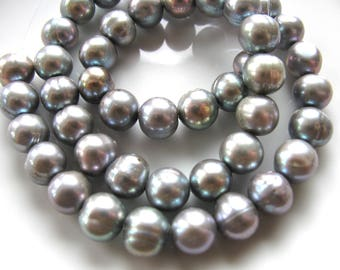 Fresh Water Pearls, 15 inch strand, 46 beads, 8mm, silver, Jewelry supply B-1464