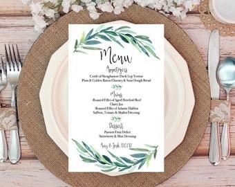 Wedding Menu Cards, Woodland Wedding Decor, Wedding Table Decor, Rustic Wedding Table Menu, Green Wedding Decor, Botanical Wedding Invites