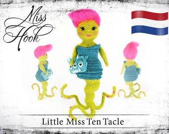 "Haakpatroon voor de pop ""Little Miss Ten Tacle"" kleine monster eBook PDF (dutch)"