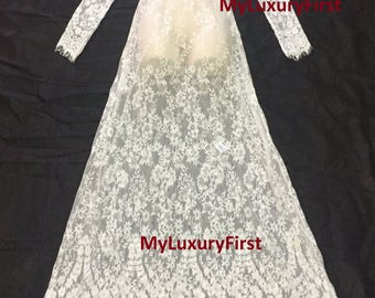 XXL DENISE Floor Length See Through White Lace Sexy Women Night Gown Dress Maternity Wedding Photography Pictures Bathing Suit Cover Long 2x