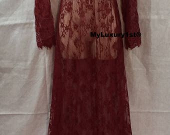 Womens Sexy BURGUNDY RED Lace See Through Long Maxi Evening DRESS Maternity Wedding Photo Shoot Party Night Gown Beach Cover Up Bridesmaid L